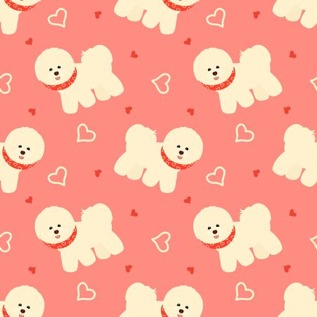 Bichon Frise seamless pattern background with scarf and hearts. Cartoon dog puppy background. Hand drawn childish vector illustration. Great for children's book, wallpaper, packaging, valentine's day.