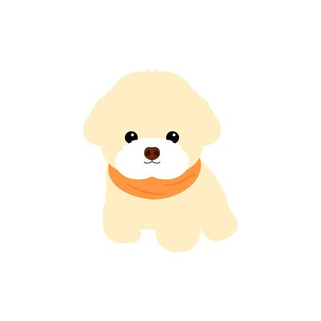 Bichon Frise puppy isolated on white background. Cartoon dog puppy icon vector. Hand drawn childish vector illustration. Great for icon, symbol, logo, children's book, baby shower card.