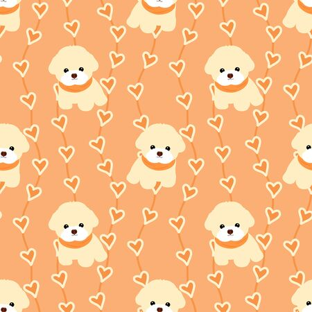 Doodle Bichon Frise puppies seamless pattern background with hand drawn wavy vertical stripes and hearts. Cartoon dog puppy background. Hand drawn childish vector illustration. Great for wallpaper.
