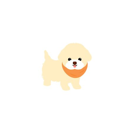 Bichon Frise puppy standing isolated on white background. Cartoon dog puppy icon vector. Hand drawn childish vector illustration. Great for icon, symbol, logo, children's book, baby shower card.