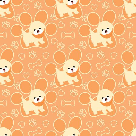Doodle Bichon Frise puppies seamless pattern background with hand drawn paw prints, dog bones and hearts. Cartoon dog puppy background. Hand drawn childish vector illustration. Great for wallpaper.