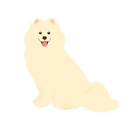 Samoyed dog isolated on white background. Cartoon dog puppy icon vector. Hand drawn childish vector illustration. Great for icon, symbol, logo, children's book. Vettoriali