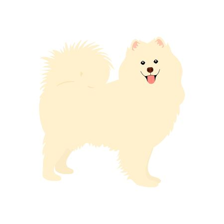 Samoyed dog standing isolated on white background. Cartoon dog puppy icon vector. Hand drawn childish vector illustration. Great for icon, symbol, logo, children's book. Vettoriali