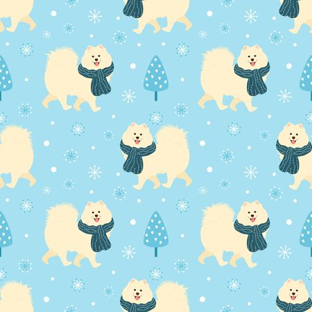 Samoyed dog wearing knitted scarf in winter seamless pattern background. Cartoon dog puppy background. Hand drawn childish vector illustration. Great for wallpaper, textile, christmas card.