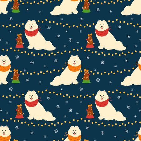 Samoyed dog wearing scarf in winter night seamless pattern background with light garlands, snowflakes and dog food. Cartoon dog puppy background. Great for christmas card, thanksgiving, happy new year
