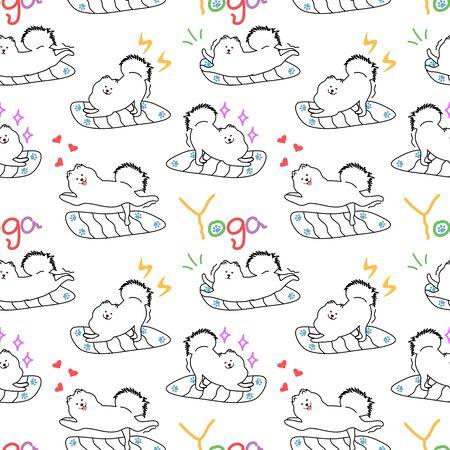 Doodle yoga samoyed dog seamless pattern background. Cartoon dog puppy background. Hand drawn childish vector illustration. Vettoriali