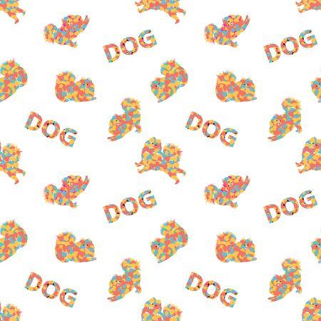 Colorful Samoyed dog seamless pattern background. Modern pop art style. Colorful dog bones texture. Vettoriali
