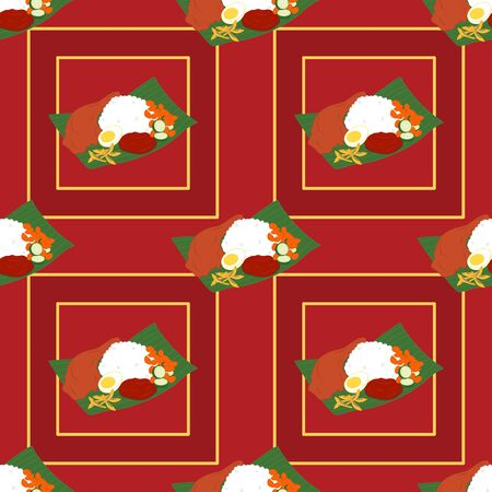 Vintage Malaysian nasi lemak seamless pattern background. Malaysian national food. Asian food background. Great for menu, wallpaper, card design.