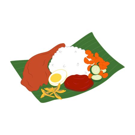 Malaysian nasi lemak isolated on white background. Malaysian national food. Asian food icon. Great for icon, symbol, logo, menu design.  イラスト・ベクター素材