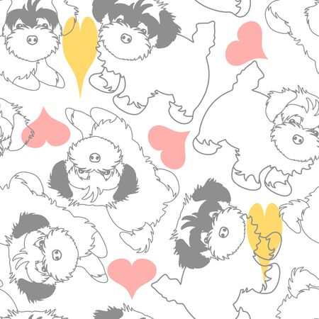Doodle havanese puppies outline seamless pattern background with hearts. Hand drawn dog puppy background. Great for wallpaper, packaging, textile design.