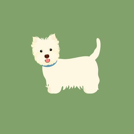 West Highland White Terrier or Westie isolated on green background. Cartoon dog puppy icon vector. Hand drawn childish vector illustration. Great for icon, symbol, logo, children's book.