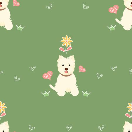 West Highland White Terrier or Westie sitting seamless pattern background with flower and heart. Cartoon dog puppy background. Hand drawn childish vector illustration. Great for wallpaper, textile.