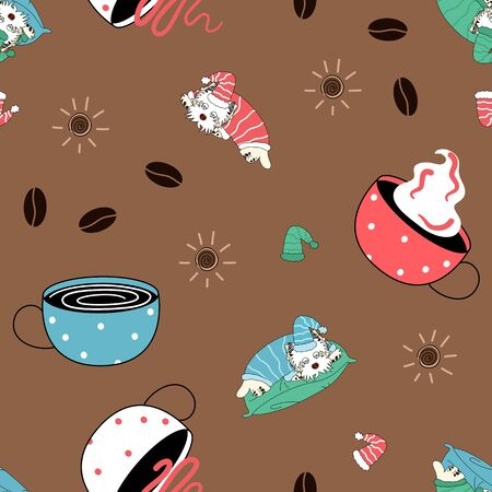 Doodle lazy dog and coffee seamless pattern background. West Highland White Terrier dog puppy background. Hand drawn childish vector illustration. Great for wallpaper, textile, cafe menu design. Illustration