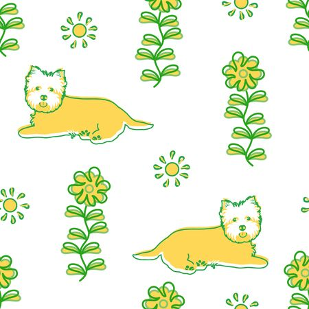Doodle West Highland White Terrier or Westie seamless pattern background with flower and sun. Cartoon dog puppy background. Hand drawn childish vector illustration. Great for wallpaper, textile. Illustration