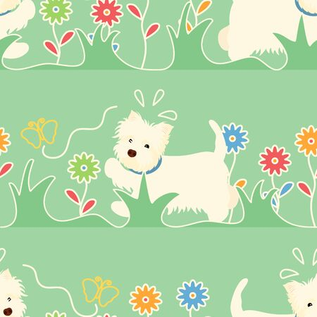 Cute white dog chasing a butterfly seamless pattern background. West Highland White Terrier dog puppy background. Hand drawn childish vector illustration. Great for wallpaper, textile, packaging