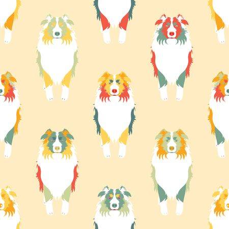 Colorful Australian Shepherd or Aussie seamless pattern background in retro style. Cartoon dog puppy background. Hand drawn childish vector illustration. Great for wallpaper, textile design.