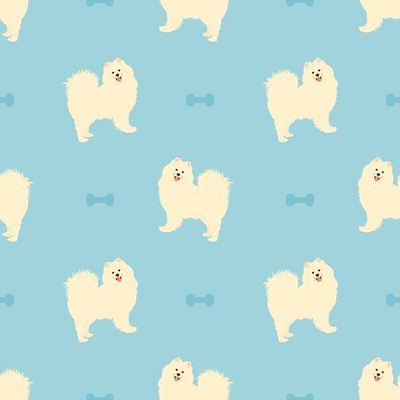 Samoyed dog seamless pattern background with dog bone. Cartoon dog puppy background. Hand drawn childish vector illustration. Great for wallpaper.