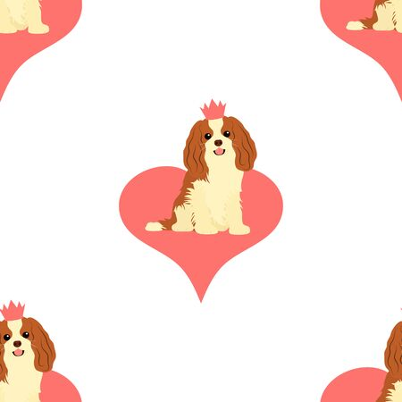 Cavalier King Charles Spaniel seamless pattern background with heart. Cartoon dog puppy background. Hand drawn childish vector illustration. Great for wallpaper, textile design.