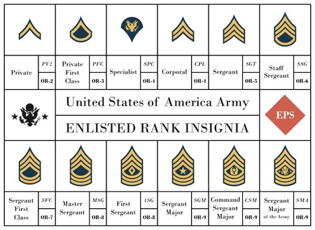 Vector collection of United States of America army enlisted rank insignia