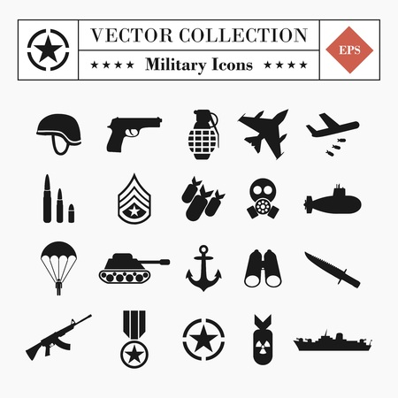 Vector collection of 20 military related icons isolated on white background
