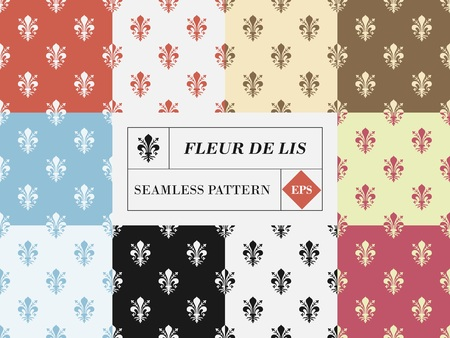 Vector set of ten fleur de lis seamless patterns