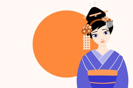 Flat modern style vector illustration of a young and beautiful japanese Geisha