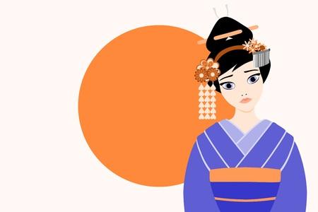 Flat modern style vector illustration of a young and beautiful japanese Geisha Ilustração