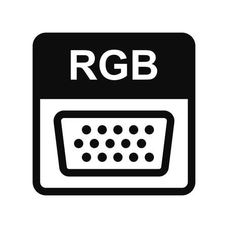 RGB VGA cable vector icon. High quality black illustration logo isolated on white background. Computer high definition video connection editable symbol