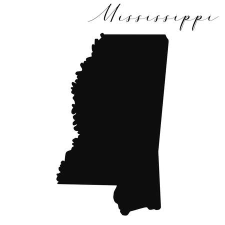 Mississippi black silhouette vector map. Editable high quality illustration of the American state of Mississippi simple map Vecteurs