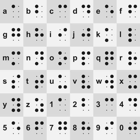Braille letters and numbers vector set - Collection of 36 Braille tactile writing system glyphs Vettoriali