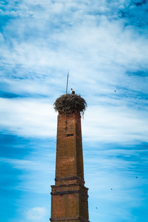 tall chimney: The tall chimney of the stork on a cloudy day