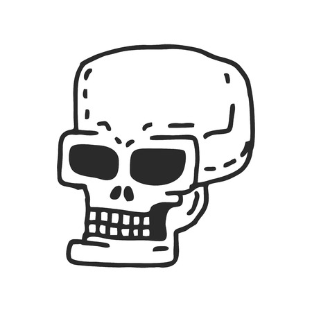 Skull cartoon. Skeleton head drawing on white background Illustration