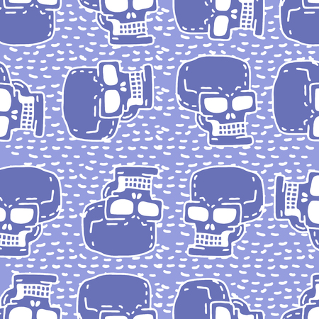 edgy: Skull cartoon seamless pattern. Skeleton head drawing ornament. Medicine background. Retro Vintage Texture