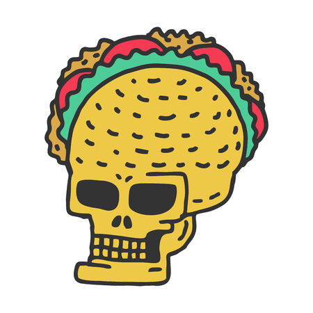 medical drawing: Skull taco drawning. Mexican Skeleton Head with Tacos Cartoon Style