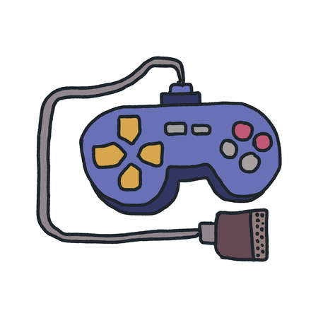 Joystick isolated. Retro gamepad. Video game controller on white background