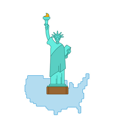Statue of Liberty and map United States. Landmark America. USA Sculpture New York. American symbol of freedom