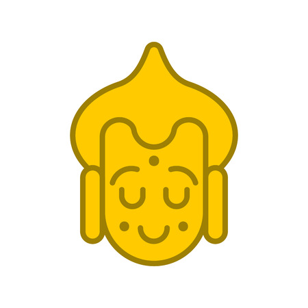 Buddha face Emoji avatar. Buddhist statue head. Meditation and enlightenment. Illustration