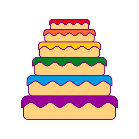 Cake LGBT. Great pie color rainbow. Food gay. Festive meat Illustration
