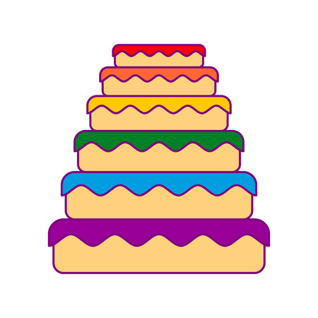 Cake LGBT. Great pie color rainbow. Food gay. Festive meat Illustration