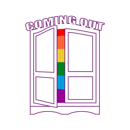 Coming Out Wardrobe LGBT Symbol Open Closet Door Get Of Gay