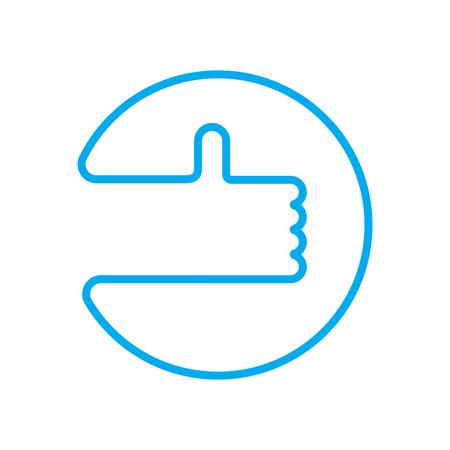 Good luck sign. Thumb up. Symbol OK.