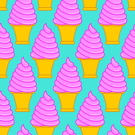 Strawberry ice cream cone pattern. Large sweet vanilla cone background