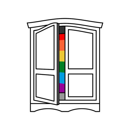 Wychodząc na szafę LGBT symbol. Otwórz drzwi szafy. Wynoś się z garderoby gay. rozpoznawanie mebli