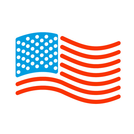 USA flag linear style. Sign of State United States. Symbol of America Illustration