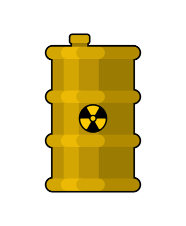 Yellow Barrel with poisonous waste. radioactive Canister with acid. toxic Chemical danger of barrel. Environmental pollution. Industrial facility