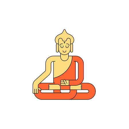 mantra: Buddha linear style. Buddhist statue. Meditation and enlightenment.