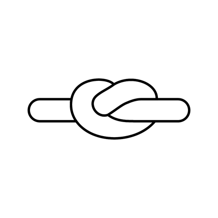 spiral cord: Rope node linear style, isolated. Bonded twine. Retractable hammer Illustration