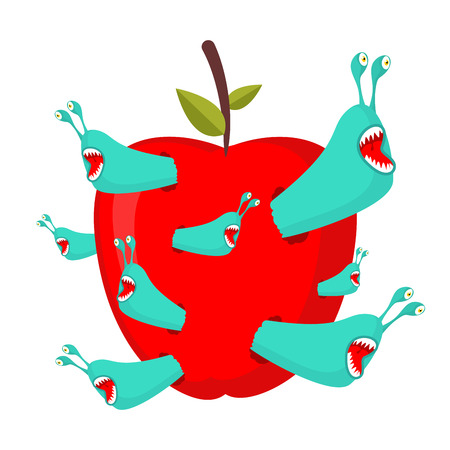 Worms eat red fruit. Illustration
