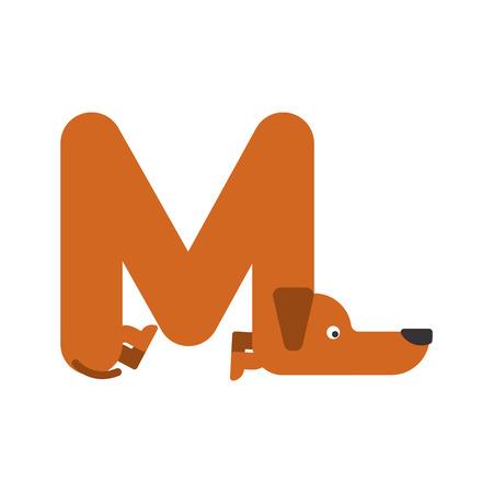 Letter M dog illustration.