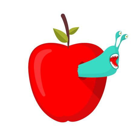 Worms eat red fruit. 矢量图像